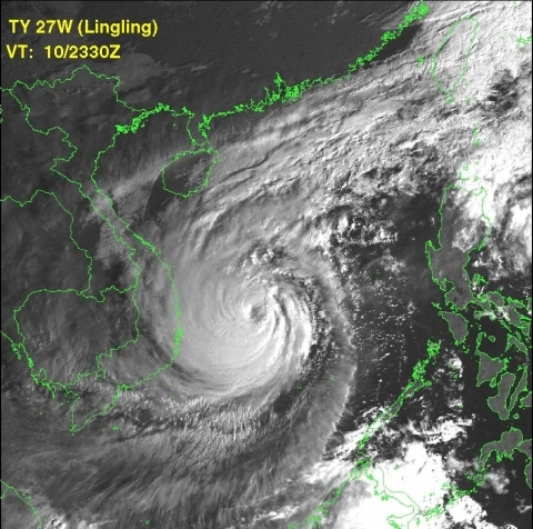 Cyclone Lingling off the Vietnam coast