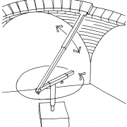 Radial arm positions bricks